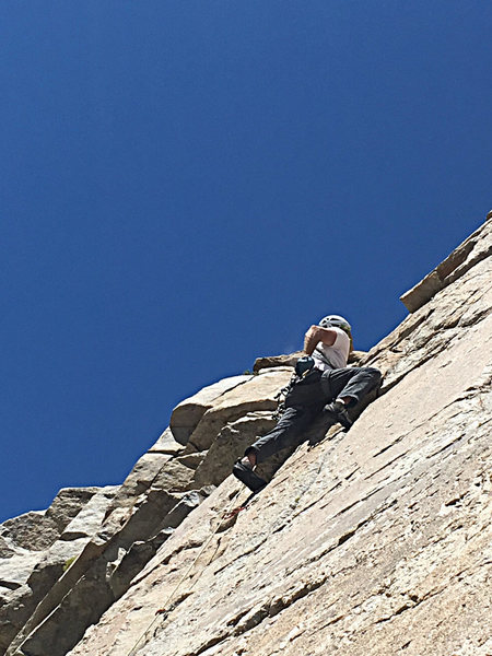 Rock Climbing Photo: Scott on Hall Pass, this section is past the crux ...