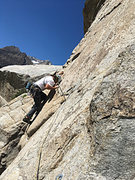 Rock Climbing Photo: Scott at the end of the traverse crux on Hall Pass...