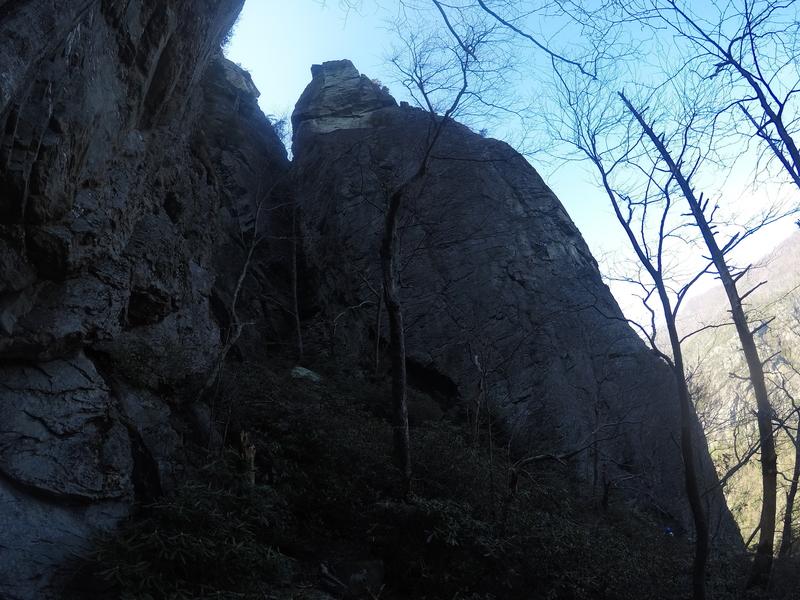 Rock Climbing Photo: climber high up on p1