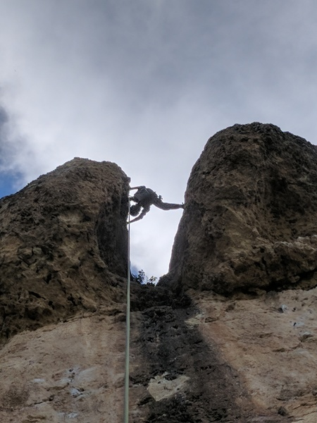 Rock Climbing Photo: Big stem for an 11 yr old.