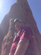 Tim K - my climbing partner at the belay point - pitch #1.