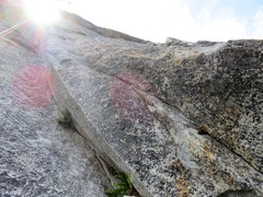 Rock Climbing Photo: At the piton on Pitch 5, there are two options: a ...