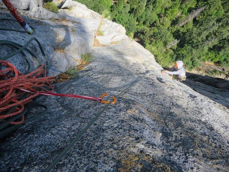 Rock Climbing Photo: Sam on the airy traverse across the face on flakes...