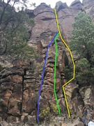 There are a variety of bottom segment options to get to the first ledge. The crux is the two body lengths below the first horizontal crack about 2/3 of the way up.