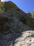 Rock Climbing Photo: We chose the 5.8 crack to get over the bulge. Fun ...