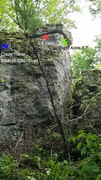 Rock Climbing Photo: Photo of right arete climb (green), new route (5.8...