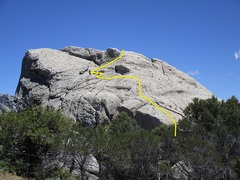 Rock Climbing Photo: Southwest downclimb highlighted.