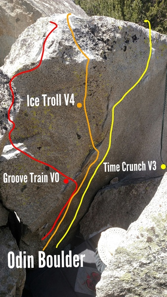 Ice Troll goes direct up the center, go from the ledge make a big move to the sloper and find your way before the Ice Troll finds out your in his den...