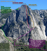 Rock Climbing Photo: Route overlay for Sentinel approach.