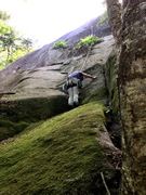 """Rock Climbing Photo: S Matz at the 5.6 crux of """"Somebody's Got to ..."""