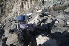 Rock Climbing Photo: Sara Susca in the scree of the approach gully.