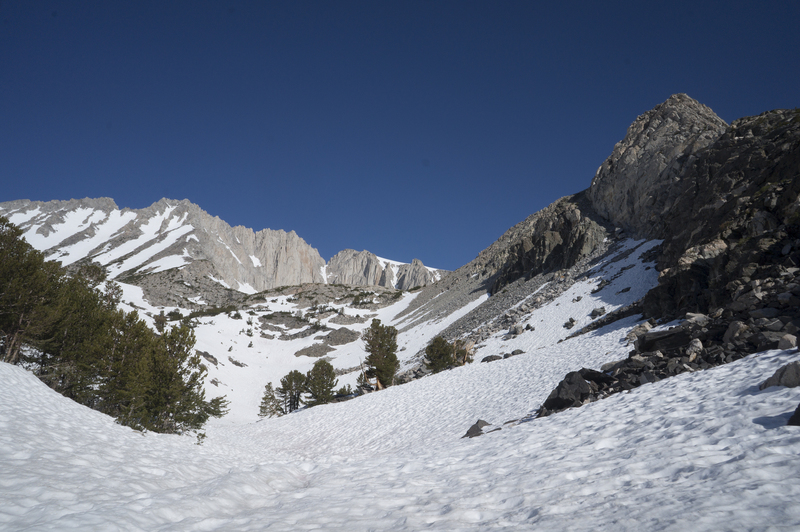 The bowl, route follows snow tongue up to the col on the right, at the bottom of the ridge.