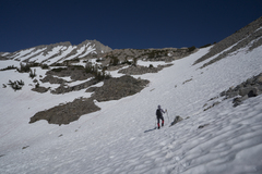 Rock Climbing Photo: Crossing above the bowl to the snow tongue - which...