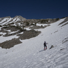 Crossing above the bowl to the snow tongue - which is about 45 degrees at its steepest.