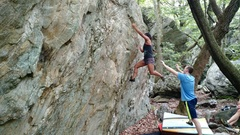 """Hitting the last """"good"""" hold before the crux."""