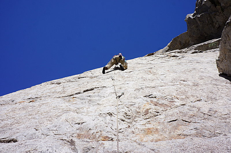 Rock Climbing Photo: The crux of Unknown B - superb small edges