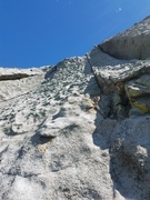 Rock Climbing Photo: Looking up pitch 3 from pitch 2 anchors.  Didn't n...