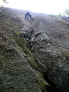 "Rock Climbing Photo: RW nears the top of P1 of ""Shine Your Helmet&..."