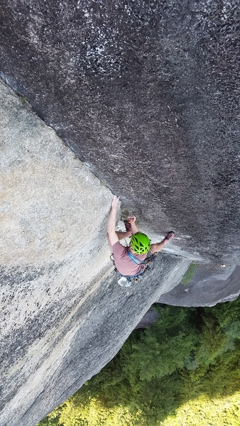 Rock Climbing Photo: Throwing in some final protection near the end of ...