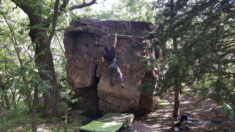 Rock Climbing Photo: Great movement! Holds used marked in red.
