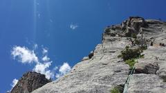 Rock Climbing Photo: Sarah midway up P4.