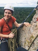 Rock Climbing Photo: Atop the route & sharing an anchor with the 5.10 T...