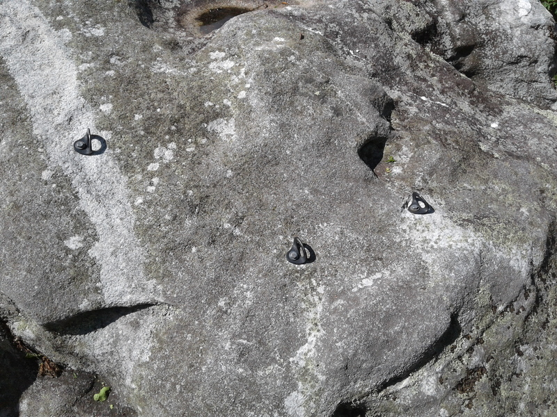 Rock Climbing Photo: The three bolts. They seem to be in decent conditi...