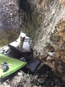 Rock Climbing Photo: Looking out from Horizontal Mambo. Start hold is l...
