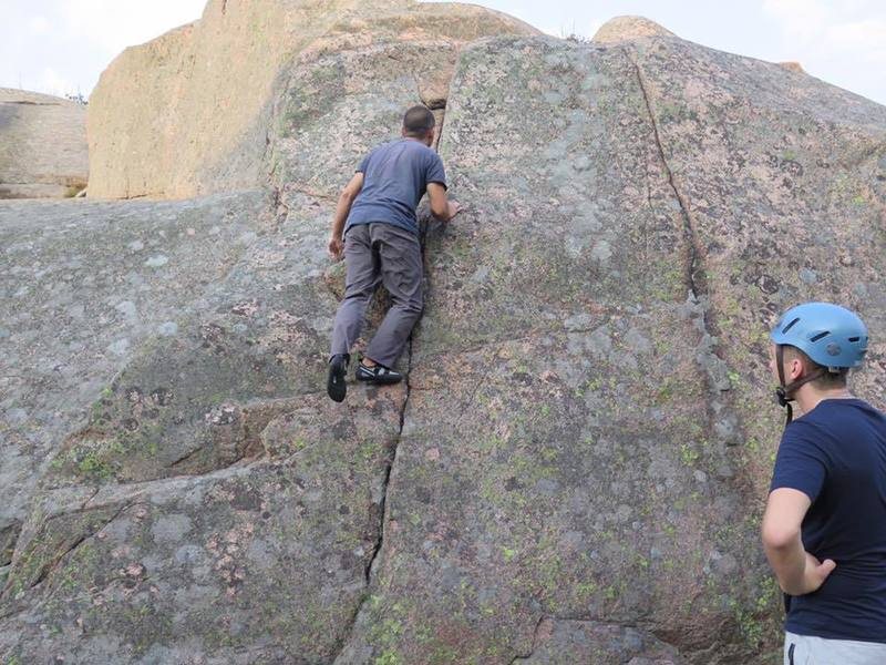 Getting warmed up on a route near A18 in the guide.