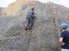 Rock Climbing Photo: Getting warmed up on a route near A18 in the guide...