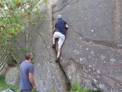 Rock Climbing Photo: Giving the crack a chance near A12.