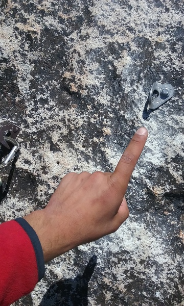 Rock Climbing Photo: New bolt at belay station. Tried to get single pic...