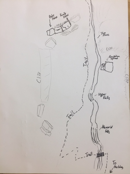 Rock Climbing Photo: Map of the Upper falls area. (Not To Scale). 6-27...