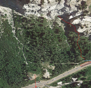 Hellgate Condominiums is the red arrow at the bottom. The beginning of the climb is the red dot at the top. <br /> <br />You can park anywhere in the red circle, then follow the blue line for 30 feet up the unimproved road, then take the trail and follow the red line up to emerge just south of Tower 2.