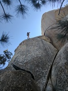 Rock Climbing Photo: Repelling down the Left Slab at Horse Flats.