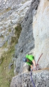Rock Climbing Photo: Todd pulling the roof (with lower first pitch anch...