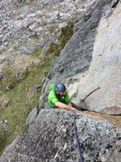 Rock Climbing Photo: Todd moving through the roof (with lower first pit...