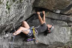Rock Climbing Photo: the lay-down-inside-the-roof beta. Photocred to Na...