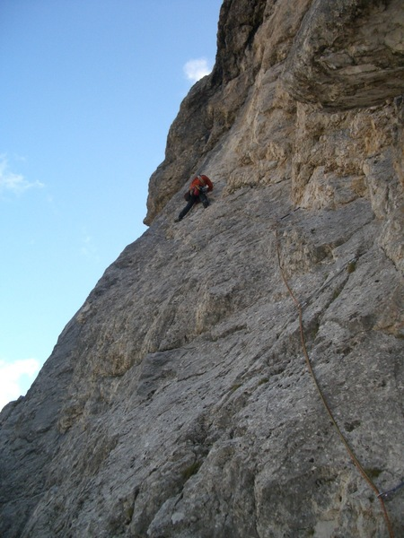 Rock Climbing Photo: Entering the crux section of pitch 4 per this desc...