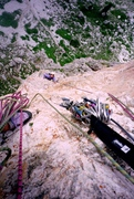 Rock Climbing Photo: Looking down the crux pitch.