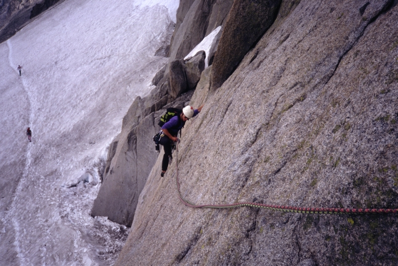 Marchand de Sable, 1st or 2nd pitch slab traverse.