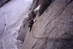 Rock Climbing Photo: Marchand de Sable, 1st or 2nd pitch slab traverse.