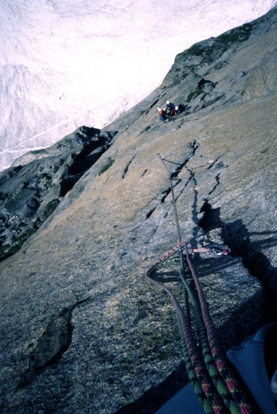 Marchand de Sable crux face from hanging belay prior to crux hand traverse.