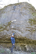 Rock Climbing Photo: Steve standing by 12 Pack (5.10c)