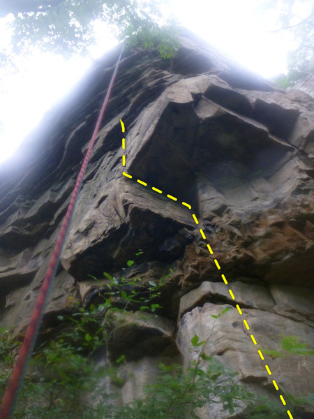 Rock Climbing Photo: The start of On Any Sunday. Begin on a rotten pede...