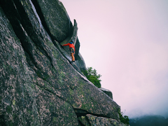Rock Climbing Photo: Peter Fogg just below the Finger of Fate.