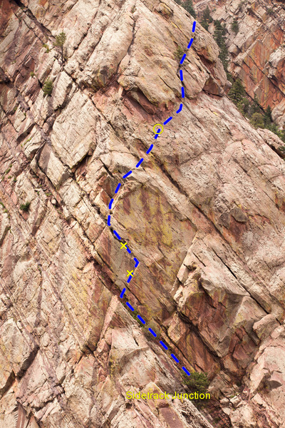 Rock Climbing Photo: The route. The bolts are marked with an x and the ...