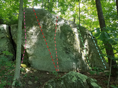 Rock Climbing Photo: Slab near top of the hill. Continue past Easter Is...