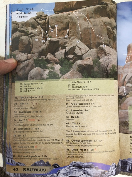 What route is number 36 pointing to in this picture from the guidebook? It is definitely not Slat or a 5.7.