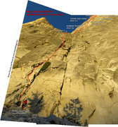 Rock Climbing Photo: Route Overlay for Regular NW Face Route as seen fr...